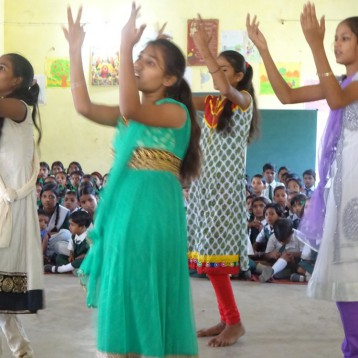 Girls dancing at school